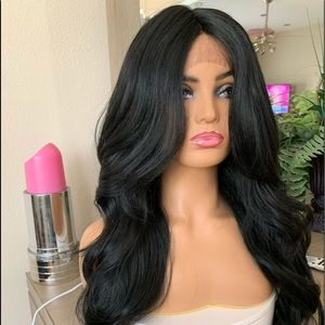 BLACK LONG WAVY LACE FRONTAL PARTED WIG